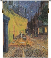 Cafe Terrace at Night Van Gogh Belgian Wall Tapestry W-7340, 10-29Incheswide, Ashley, 23W, 30-39Inchestall, 30H, At, Belgian, Blue, Cafe, Gogh, Green, Night, Tapestry, Terrace, Van, Vertical, Wall, Yellow, Belgianwoven, Europeanwoven, tapestries, tapestrys, hangings, and, the, wool