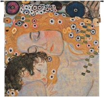Mother and Child Gustav Klimt Belgian Wall Tapestry W-7346, 10-29Inchestall, 10-29Incheswide, 18H, 18W, 24H, 24W, 30-39Inchestall, 30-39Incheswide, 37H, 37W, And, Belgian, Child, Floral, Flowers, Gustav, Klimt, Light, Mother, Square, Tapestry, Wall, Yellow, Belgianwoven, Europeanwoven, tapestries, tapestrys, hangings, and, the, wool