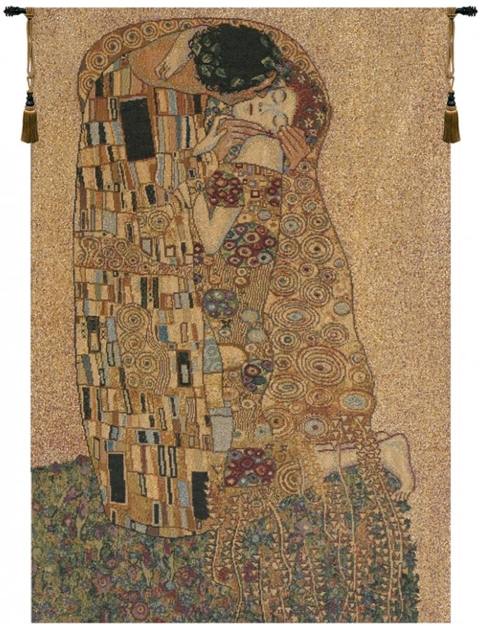 Gustav Klimt Kiss II Italian Wall Tapestry Hanging, Tapestries, Woven, tapestries, tapestrys, hangings, and, the
