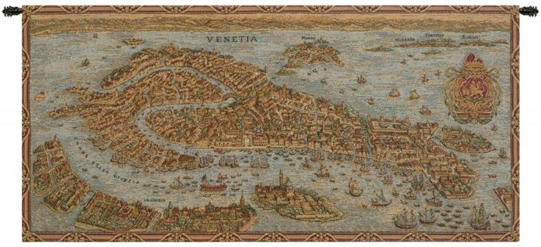 Ancient Map of Venice Italian Wall Tapestry Hanging, Tapestries, Woven, tapestries, tapestrys, hangings, and, the