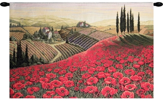 Tuscan Poppy Landscape Italian Wall Tapestry Hanging, Tapestries, Woven, tuscany, italy, italian, tapestries, tapestrys, hangings, and, the