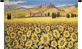 Tuscan Sunflower Landscape Italian Wall Tapestry Hanging, Tapestries, Woven, tapestries, tapestrys, hangings, and, the