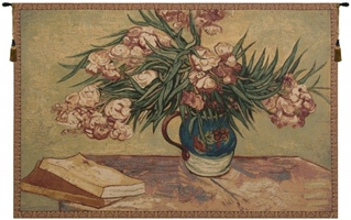 Oleanders and Books Italialn Wall Tapestry Hanging, Tapestries, Woven, tapestries, tapestrys, hangings, and, the